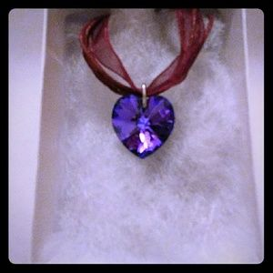 Electric Purple Crystal Heart Necklace